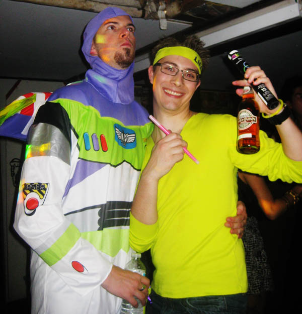 Buzz Lightyear with Tyler at the 1990s New Years Dance Party in Vancouver