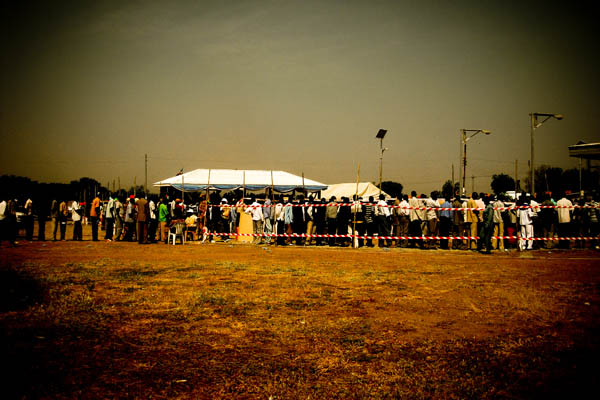 Queue of referendum voters at Dr John Garang Mausoleum, Juba