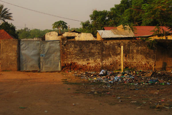 Litter in the street, typical scenery in Juba