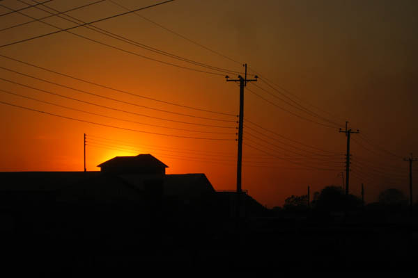 Sunset in a wealthier Juba neighbourhood with city electricity