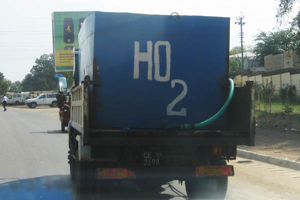 A common spelling error on water tankers in Juba