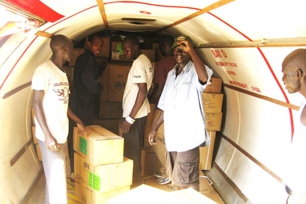 Loading a 5 tonne cargo plane with drugs at Juba Airport