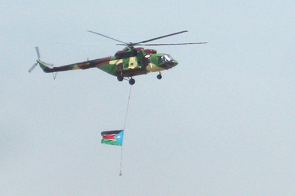 SPAF Mi17 helicopter above Juba Airport, South Sudan