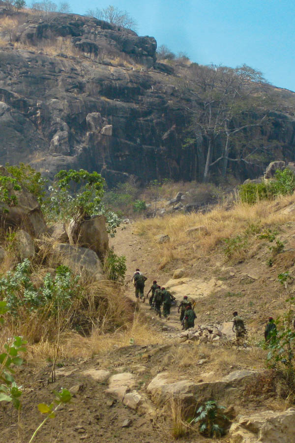 SPLA soldiers walking up Jebel Kujur