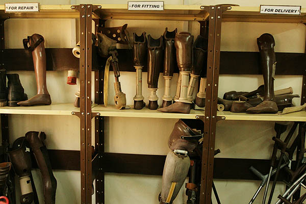 Various prostheses on the shelf at the Physical Rehabilitation Reference Centre in Juba, South Sudan