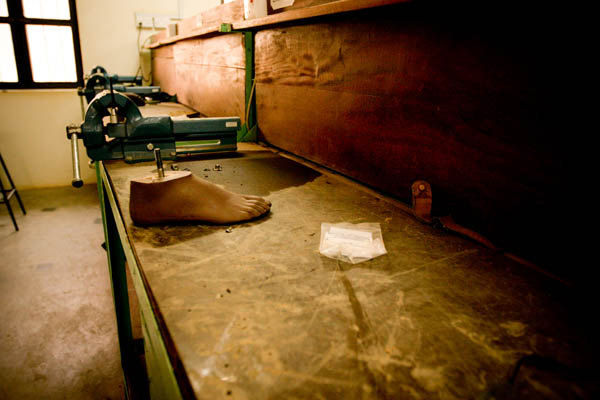 An artificial foot in the workshop at the Physical Rehabilitation Reference Centre in Juba, South Sudan