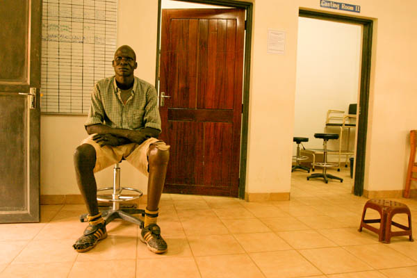 A South Sudanese man, happy with his prosthetic leg at the Physical Rehabilitation Reference Centre in Juba, South Sudan