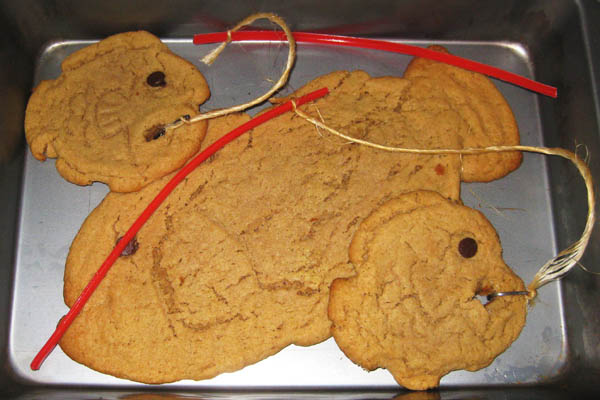 Peanut butter fish cookies with fishing rods and hooks