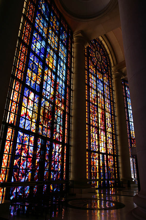 Stained glass windows in Notre-Dame de la Paix Basilica, Yamoussoukro, Côte d'Ivoire