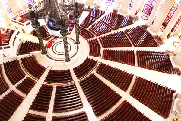 Looking down into the main church seating area, Notre-Dame de la Paix Basilica, Yamoussoukro, Côte d'Ivoire