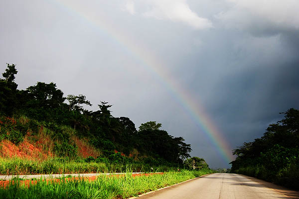 Rainbow over the highway between Yamoussoukro and Abidjan, Côte d'Ivoire