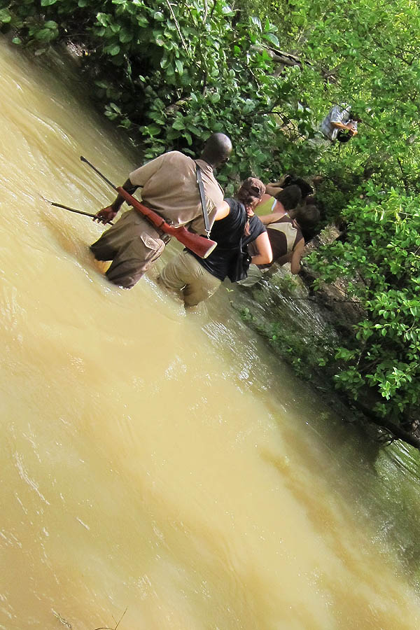 Crossing a river in Mole National Park, Ghana