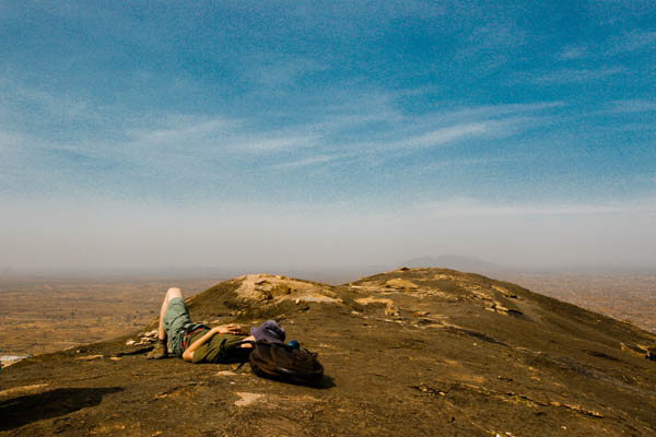 Taking a nap atop Jebel Kujur, Juba