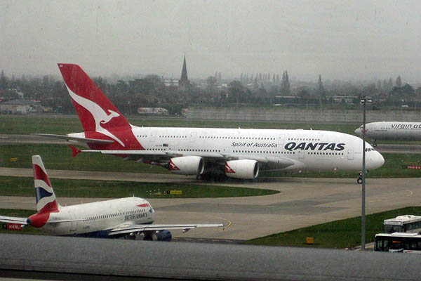 Qantas Airbus A380 at Heathrow Airport