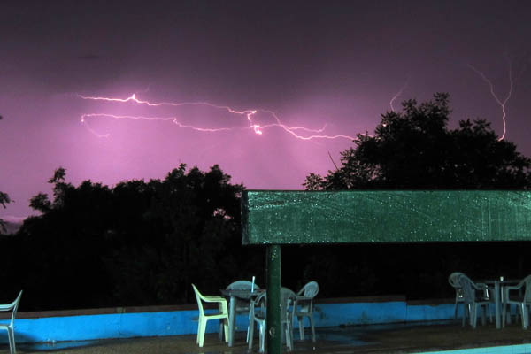 Horizontal lightning in Mole National Park, Ghana