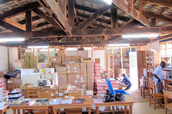 The MSF office and warehouse space, full to capacity