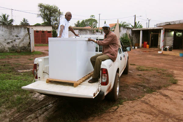 Donating a vaccine fridge to a medical NGO in Tabou, Côte d'Ivoire