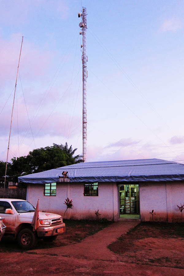 The VHF antenna (on the left) in Tabou, Côte d'Ivoire