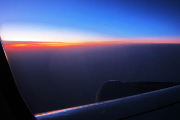 Sunset over the clouds en route to Frankfurt, Germany