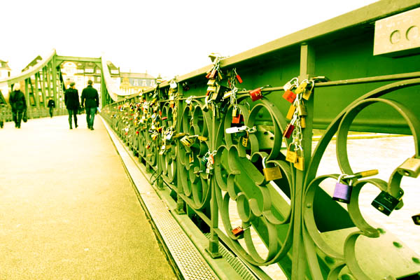 Pedestrian bridge with love locks in Frankfurt, Germany