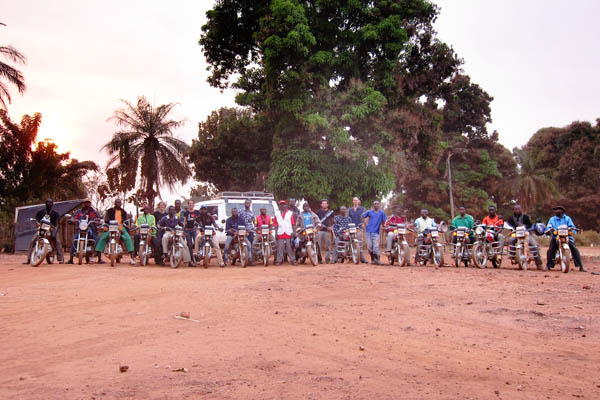 16 of the more than 20 motorcycles used for the Faradje measles vaccination campaign