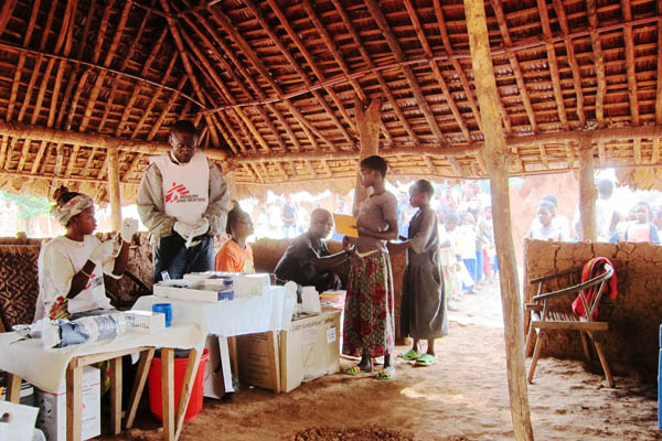 Inside a vaccination site in Kpekpere, DR Congo