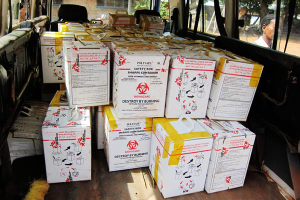 Sharps boxes ready for burning in Dungu, DR Congo