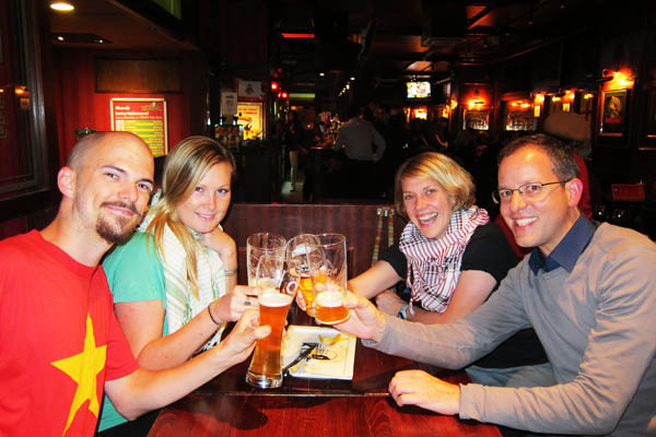 A beer with colleagues in Geneva
