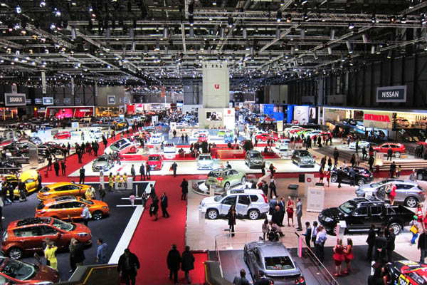 Partial view of the floor of the 82nd Geneva International Motor Show