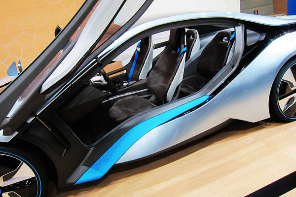 BMW i8 hybrid concept sportscar, side view