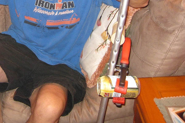Crutch beer holder. Photo copyright: Claire Howell, http://www.flickr.com/people/midwestbass/
