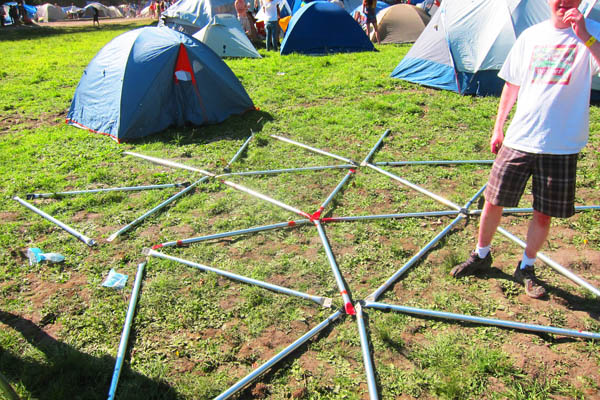 Starting the geodesic dome assembly at Shambhala