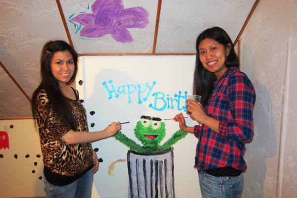 Paulie and Jana painting Oscar the Grouch for my birthday