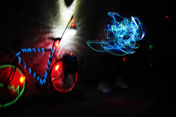 EL wire and flashy lights at bike dance party