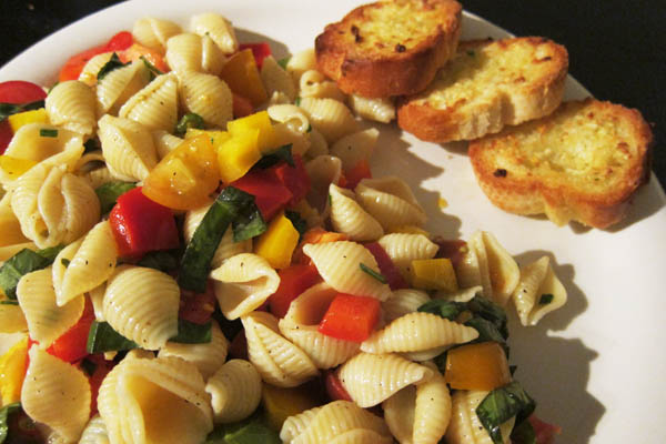 Pasta salad and garlic bread