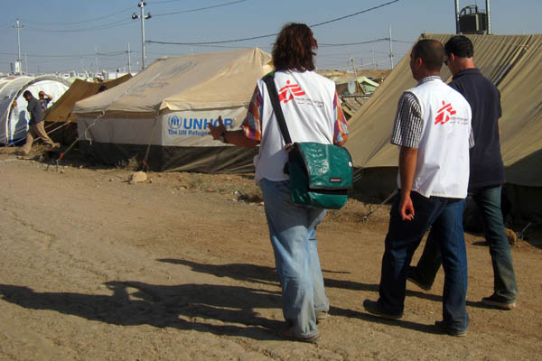 Walking in Domiz Refugee Camp for Syrians, Iraq
