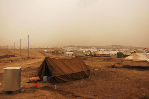 Dusty day in Domiz Refugee Camp for Syrians, Iraq