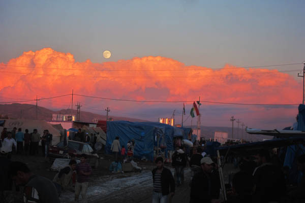 Late afternoon near the entrance to Domiz Refugee Camp for Syrians, Iraq