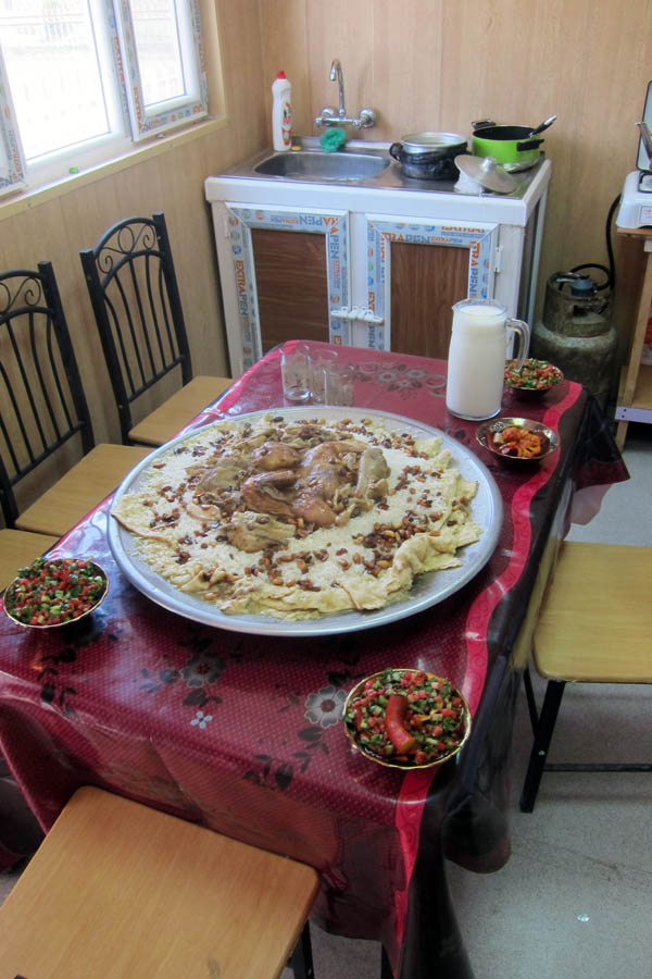 Typical meal made by families of our staff in Hawijah