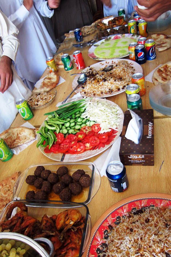 Big spread of Afghan food