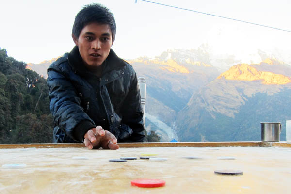 Carrom board in the Himalayas