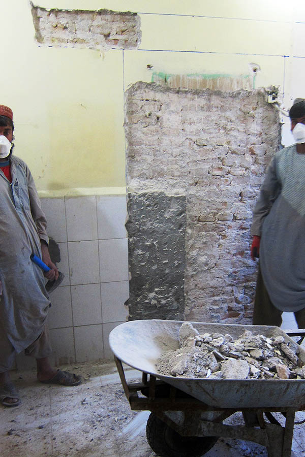 Starting work on a new doorway in Bost Provincial Hospital, Helmand, Afghanistan