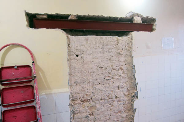 I-beam lintel above new doorway in Bost Provincial Hospital, Helmand, Afghanistan