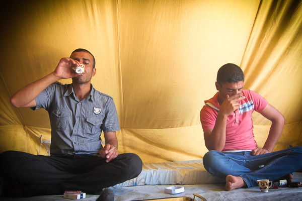 Strong coffee and cheap cigarettes in Domiz Refugee Camp, Duhok, Iraq