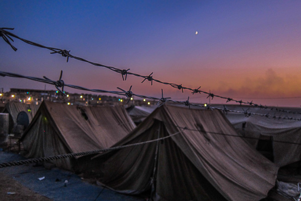 Refugee tents at dusk in Domiz Refugee Camp, Duhok, Iraq