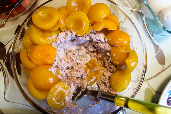 Tinned apricots, tuna, mayonnaise. Must be Flemish.