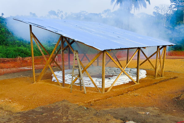 New burning pit at Kailahun Ebola Management Centre, Sierra Leone