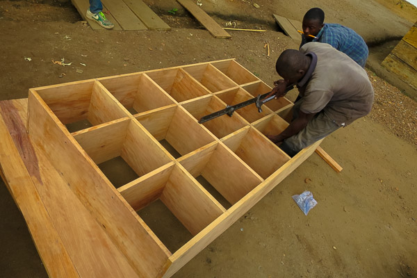 Making shelves in Kailahun for Magburaka Ebola Management Centre, Sierra Leone