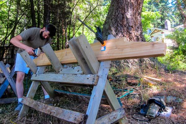 Matt building an arbour