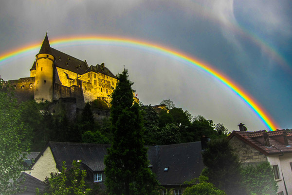 Rainbow over Vianden castle, Luxembourg